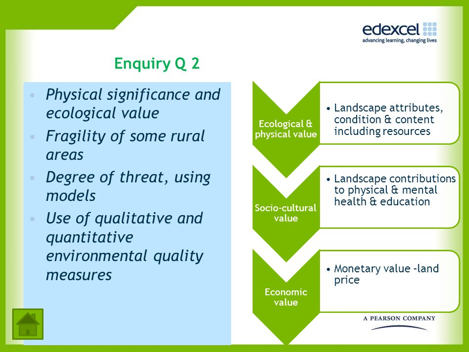 Enquiry Q 2 Physical significance and ecological value Fragility of some rural areas Degree of threat, using models Use of qualitative and quantitativ