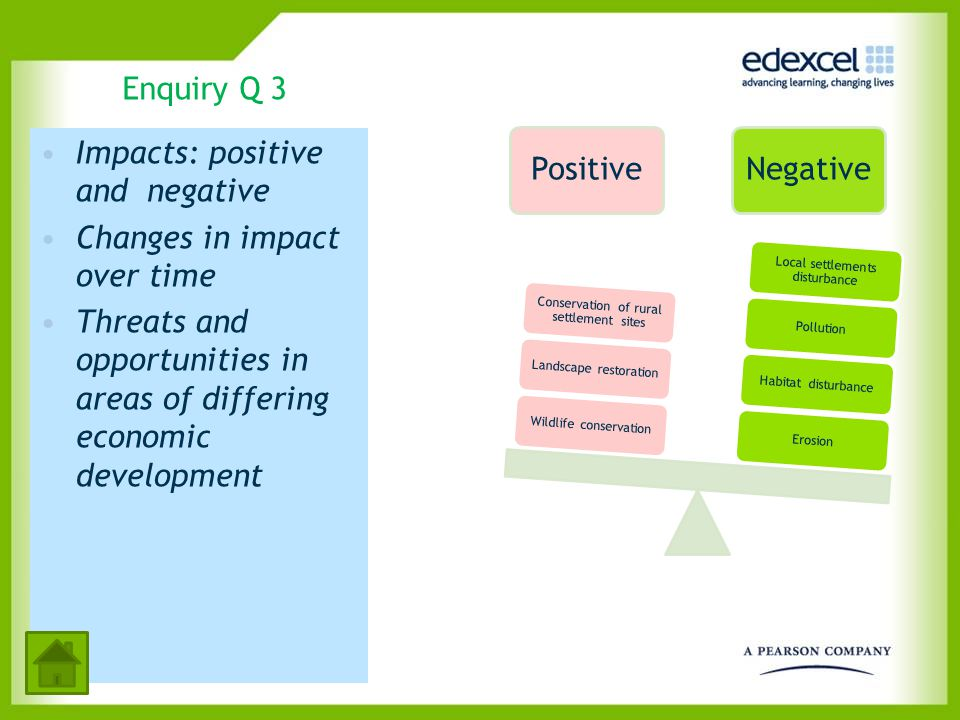 Enquiry Q 3 Impacts: positive and negative Changes in impact over time Threats and opportunities in areas of differing economic development PositiveNe