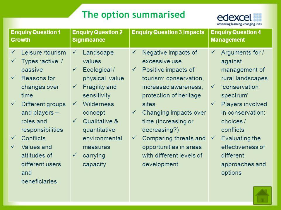 The option summarised Enquiry Question 1 Growth Enquiry Question 2 Significance Enquiry Question 3 Impacts Enquiry Question 4 Management Leisure /tour