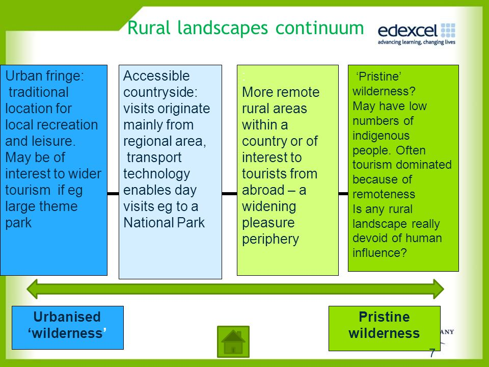Rural landscapes continuum : More remote rural areas within a country or of interest to tourists from abroad – a widening pleasure periphery 'Pristine