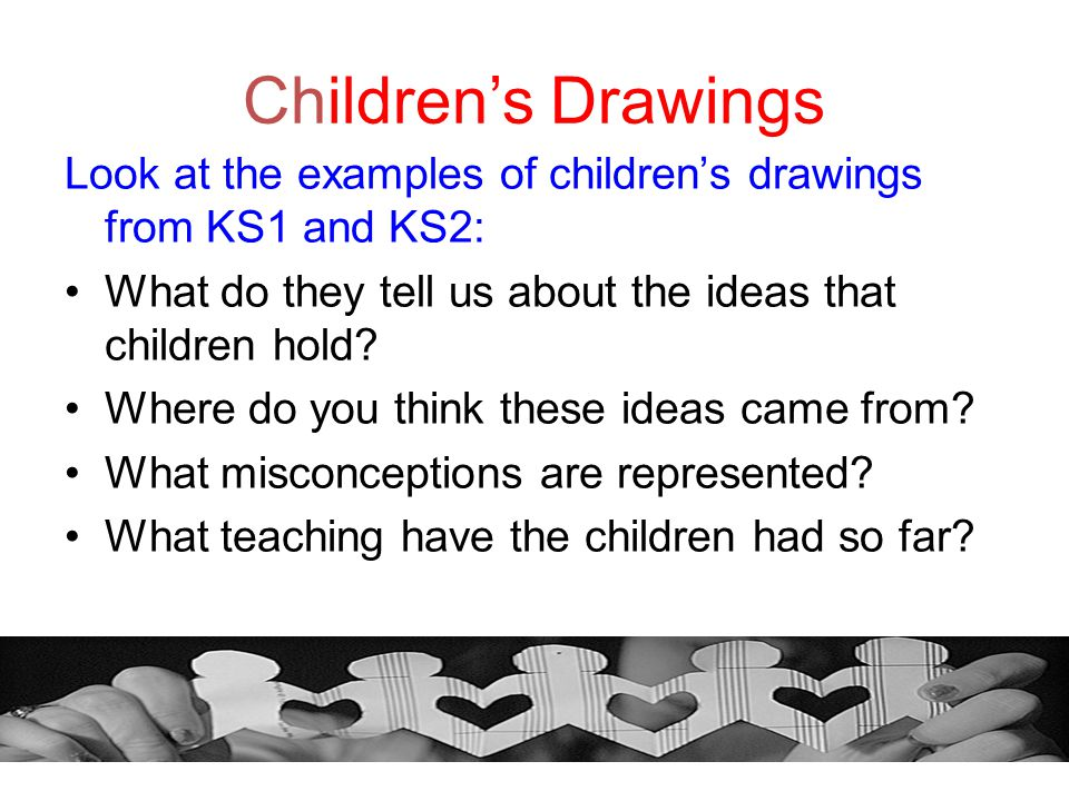 Children's Drawings Look at the examples of children's drawings from KS1 and KS2: What do they tell us about the ideas that children hold? Where do yo