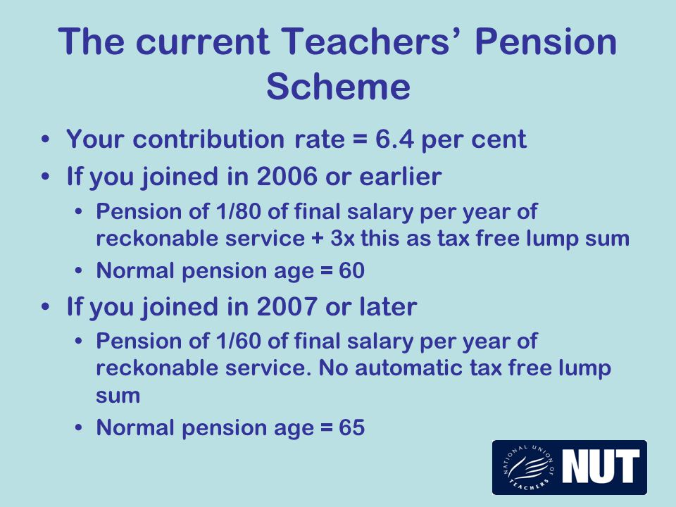 What you can do Email your local MP go to www.teachers.org.uk/pensions - ask your MP to oppose contribution rises and RPI to CPIwww.teachers.org.uk/pensions email the link to 5 friends - ask them to use it Use the NUT pension calculator at www.teachers.org.uk www.teachers.org.uk Take part in the Union's surveys of members' views on pensions Talk to colleagues and friends - your pension is fair, affordable and does not need to be cut Be prepared to vote for action!