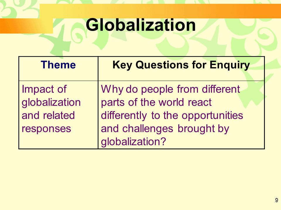 9 Globalization ThemeKey Questions for Enquiry Impact of globalization and related responses Why do people from different parts of the world react differently to the opportunities and challenges brought by globalization