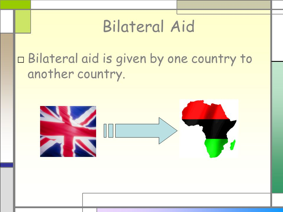 Bilateral Aid □ Bilateral aid is given by one country to another country.