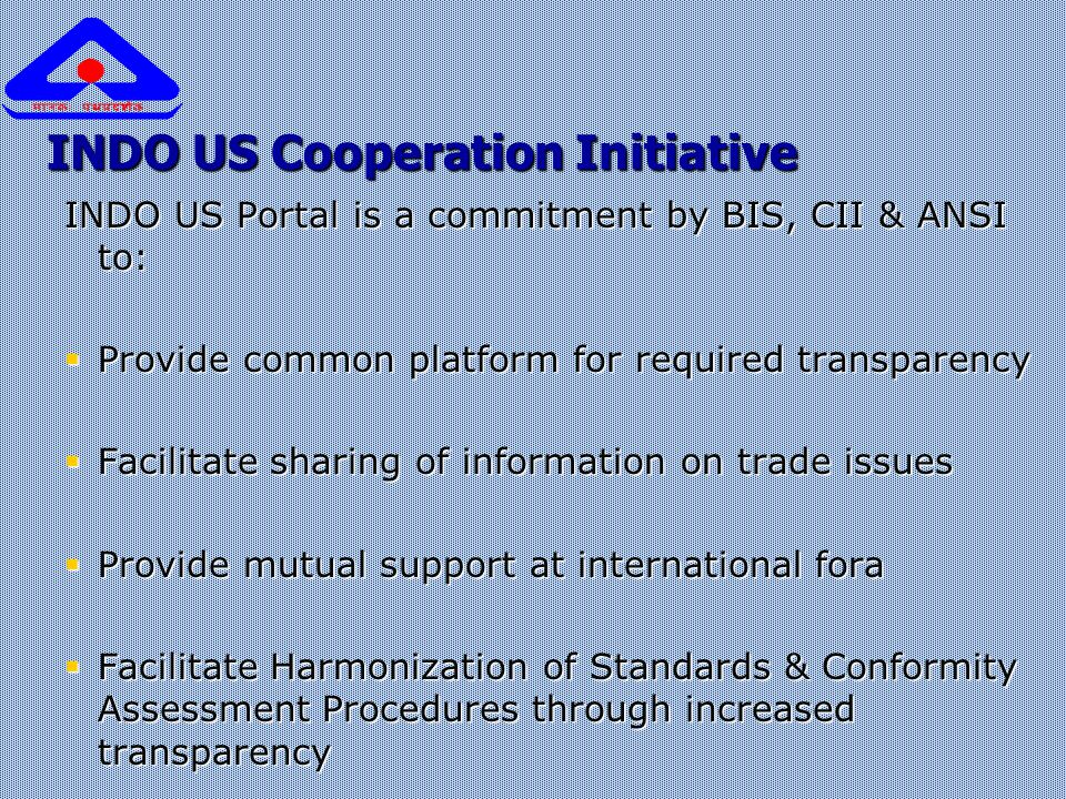 INDO US Cooperation Initiative INDO US Portal is a commitment by BIS, CII & ANSI to:  Provide common platform for required transparency  Facilitate
