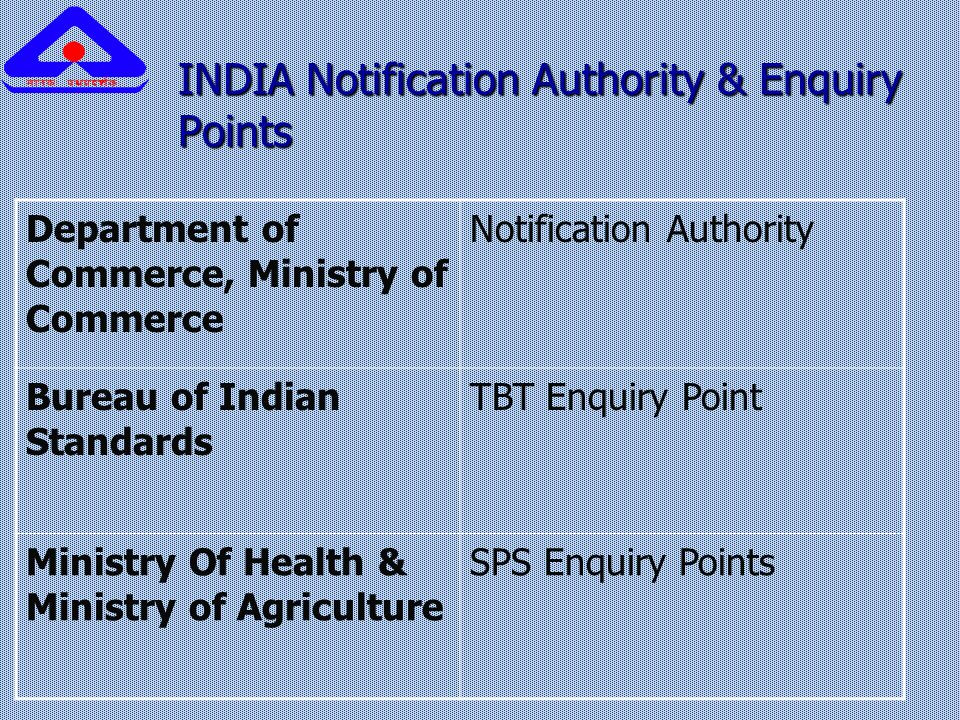INDIA Notification Authority & Enquiry Points INDIA Notification Authority & Enquiry Points Department of Commerce, Ministry of Commerce Notification