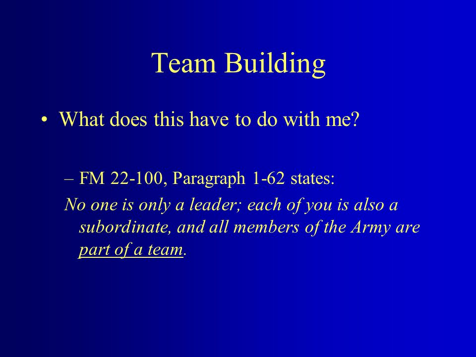 Team Building There is no I in T E A M Being a member of a team is being part of the we , not being the me