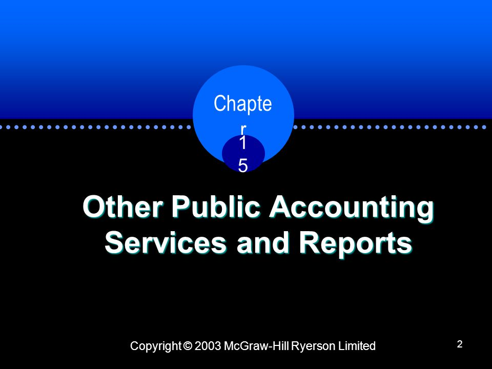 Copyright © 2003 McGraw-Hill Ryerson Limited Chapte r 1515 2 Other Public Accounting Services and Reports