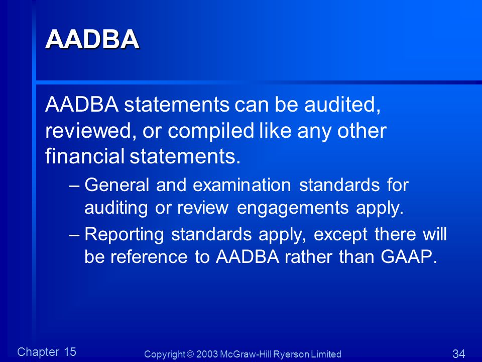 Copyright © 2003 McGraw-Hill Ryerson Limited Chapter 15 34AADBA AADBA statements can be audited, reviewed, or compiled like any other financial statem