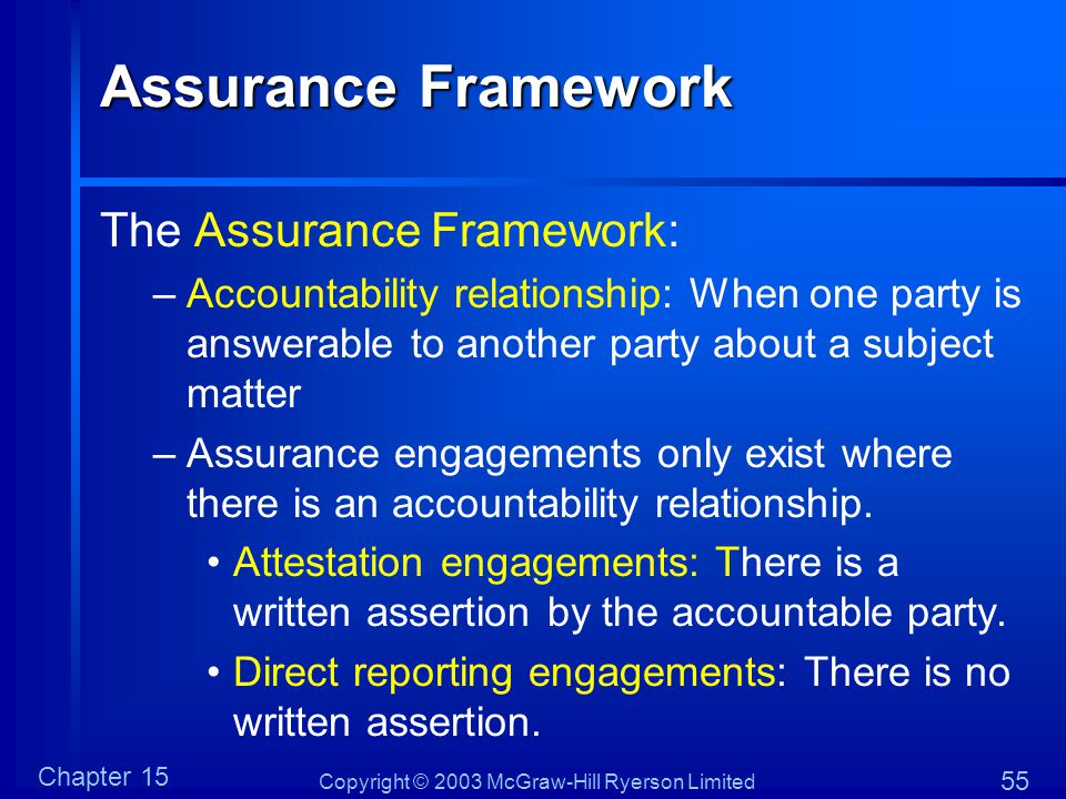 Copyright © 2003 McGraw-Hill Ryerson Limited Chapter 15 55 Assurance Framework The Assurance Framework: –Accountability relationship: When one party i