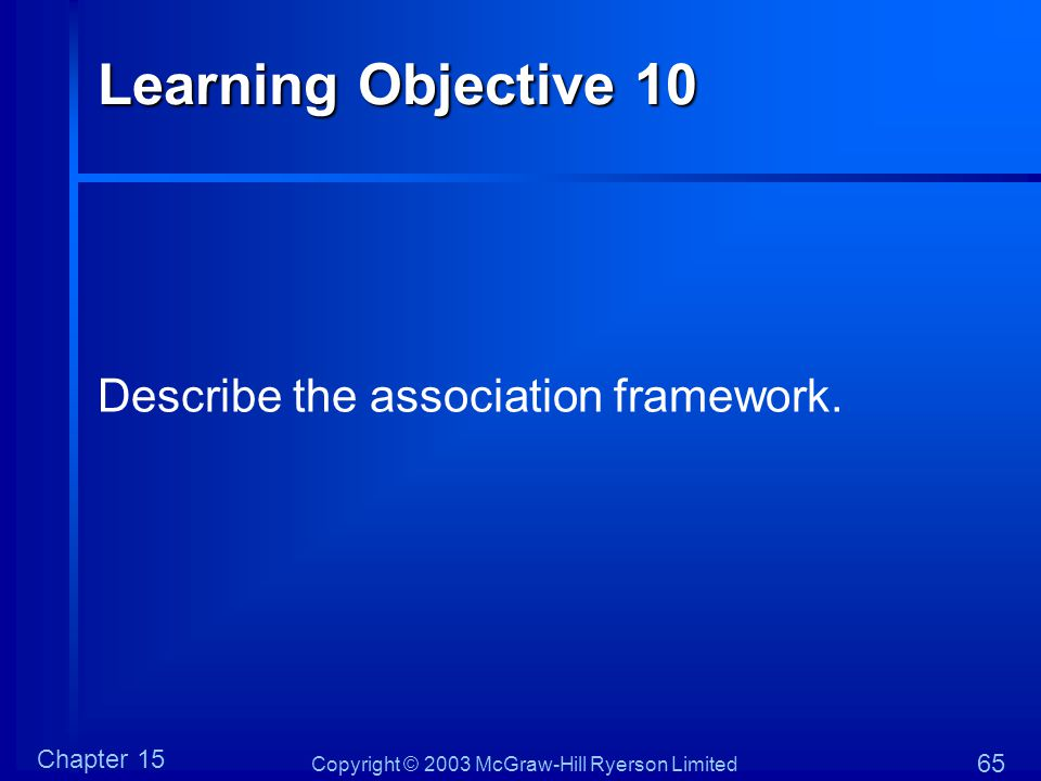 Copyright © 2003 McGraw-Hill Ryerson Limited Chapter 15 65 Learning Objective 10 Describe the association framework.