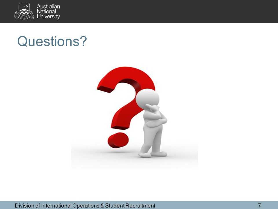 Questions Division of International Operations & Student Recruitment7