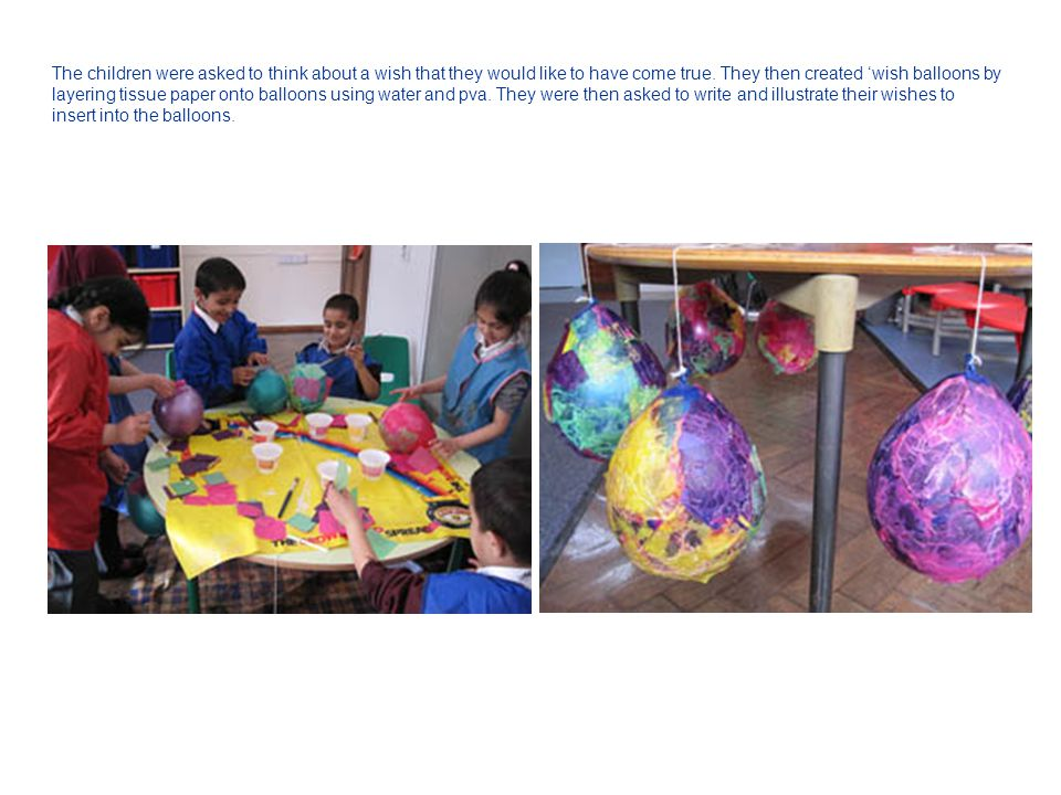 The children were asked to think about a wish that they would like to have come true. They then created 'wish balloons by layering tissue paper onto b
