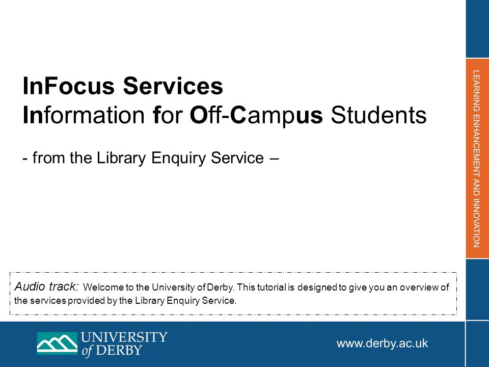 InFocus services from the Library Enquiry Service Who are we.