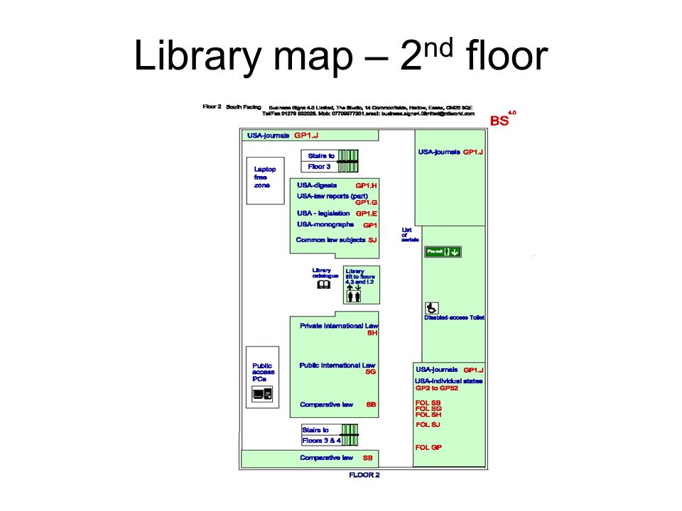 Library map – 2 nd floor