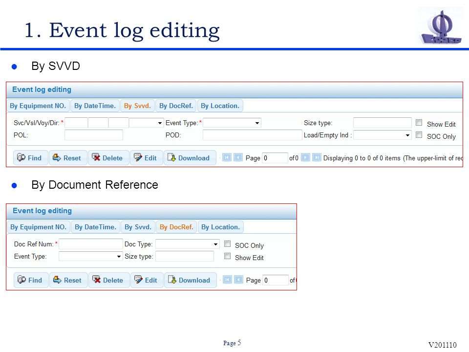 V201110 Page 5 1. Event log editing By SVVD By Document Reference