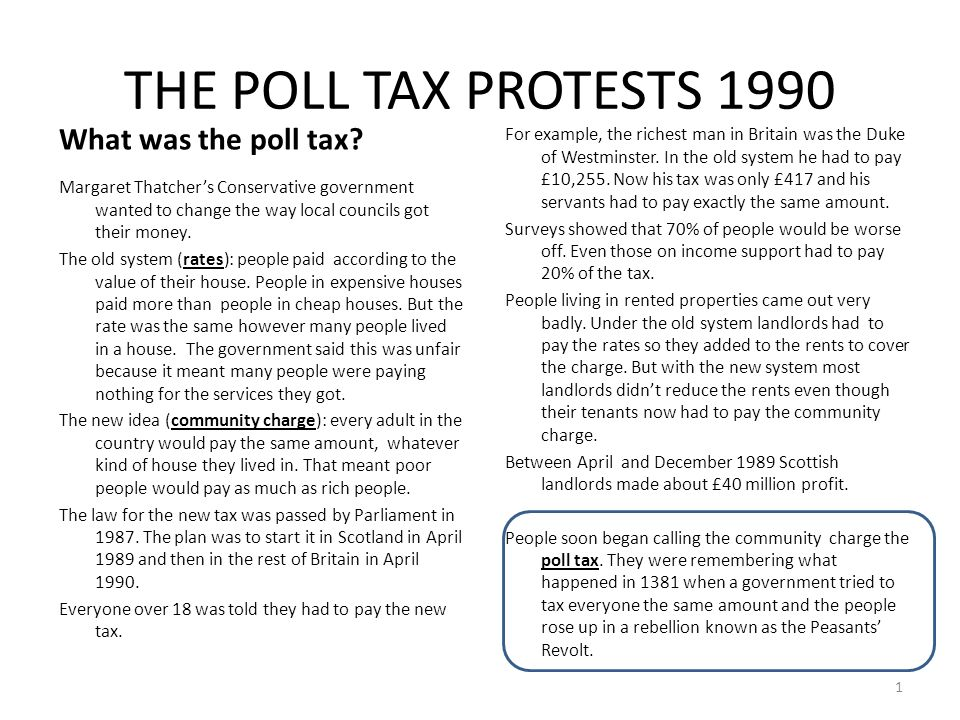 THE POLL TAX PROTESTS 1990 What was the poll tax? Margaret Thatcher's Conservative government wanted to change the way local councils got their money.