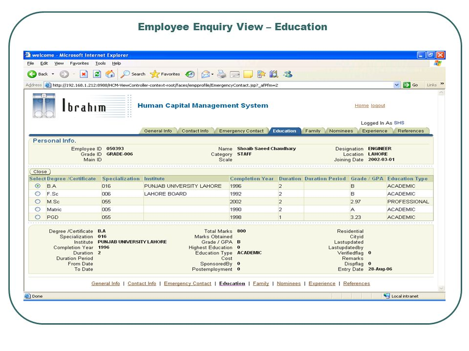 Employee Enquiry View – Education