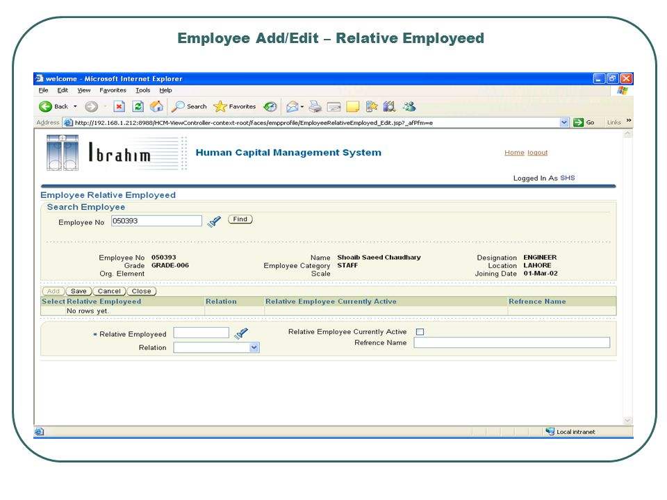 Employee Add/Edit – Relative Employeed