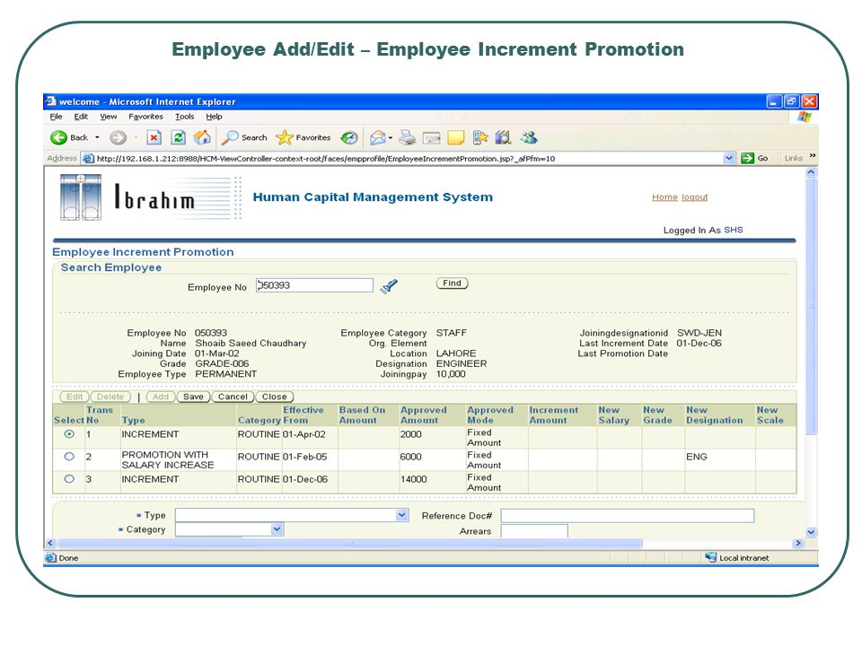 Employee Add/Edit – Employee Increment Promotion