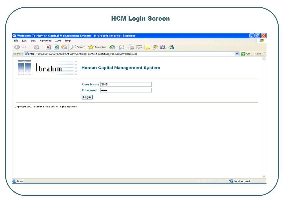 HCM Login Screen
