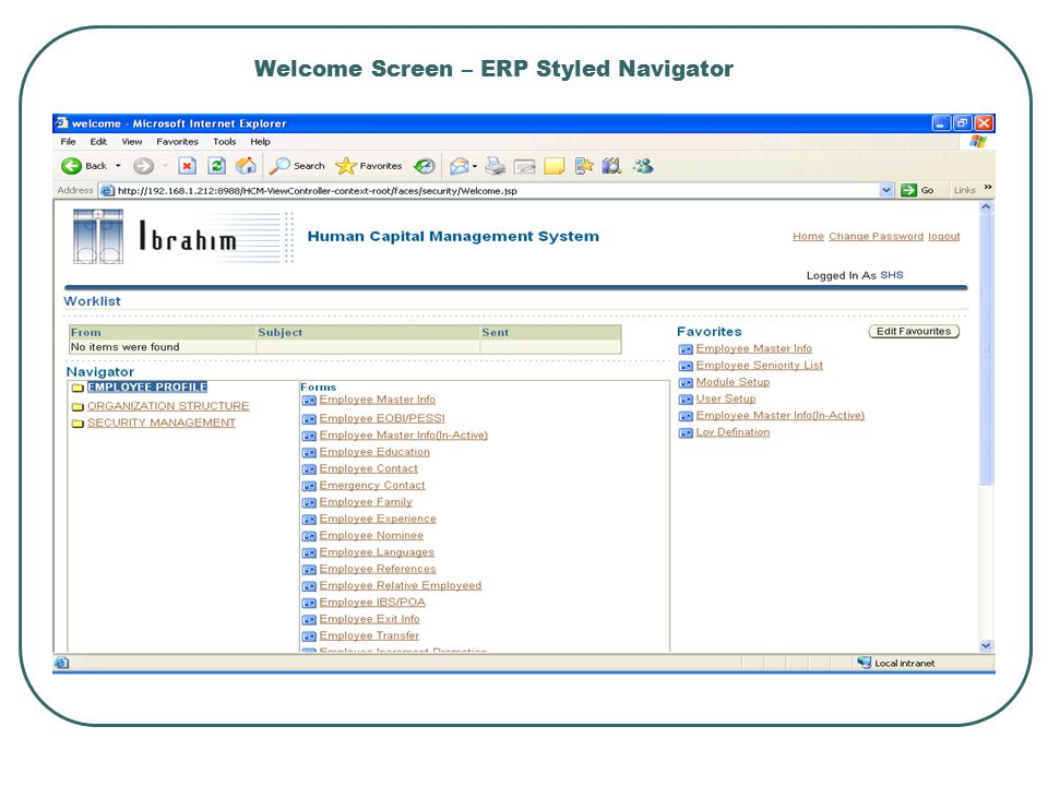 Welcome Screen – ERP Styled Navigator