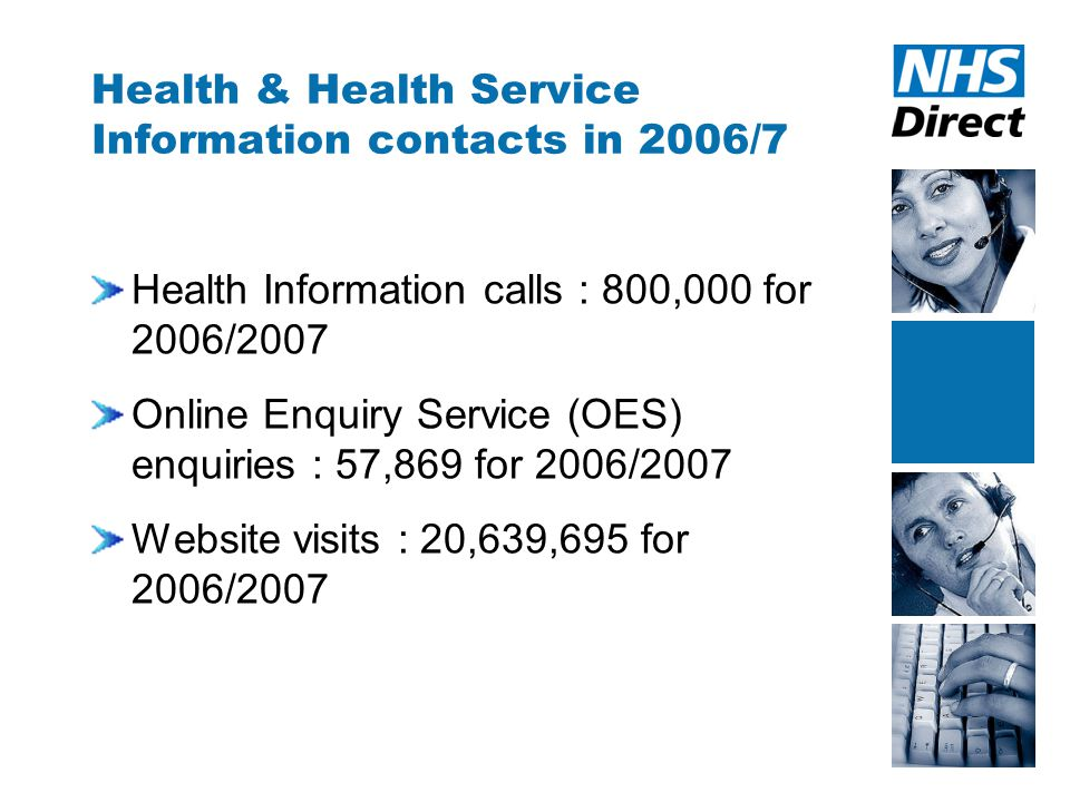 Health & Health Service Information contacts in 2006/7 Health Information calls : 800,000 for 2006/2007 Online Enquiry Service (OES) enquiries : 57,869 for 2006/2007 Website visits : 20,639,695 for 2006/2007