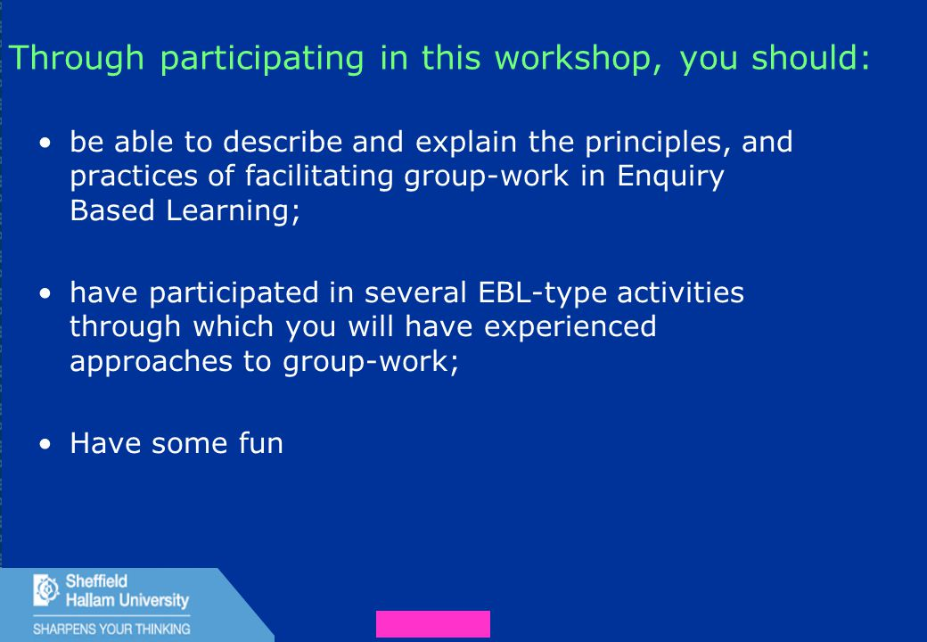 3 Through participating in this workshop, you should: be able to describe and explain the principles, and practices of facilitating group-work in Enquiry Based Learning; have participated in several EBL-type activities through which you will have experienced approaches to group-work; Have some fun