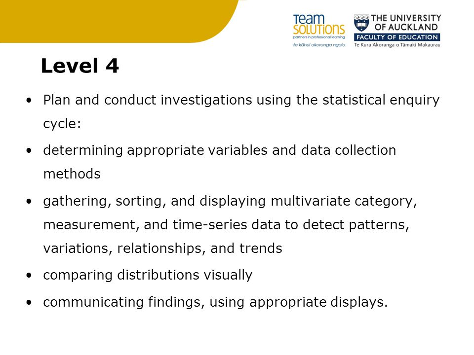 Level 4 Plan and conduct investigations using the statistical enquiry cycle: determining appropriate variables and data collection methods gathering, sorting, and displaying multivariate category, measurement, and time-series data to detect patterns, variations, relationships, and trends comparing distributions visually communicating findings, using appropriate displays.