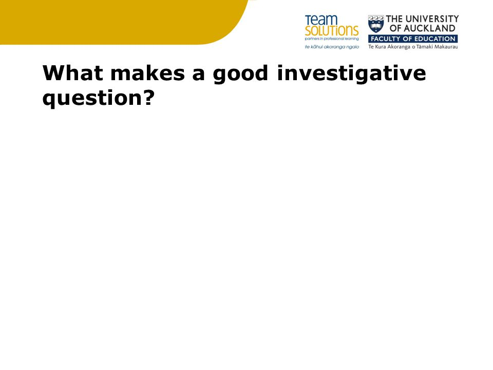 What makes a good investigative question?