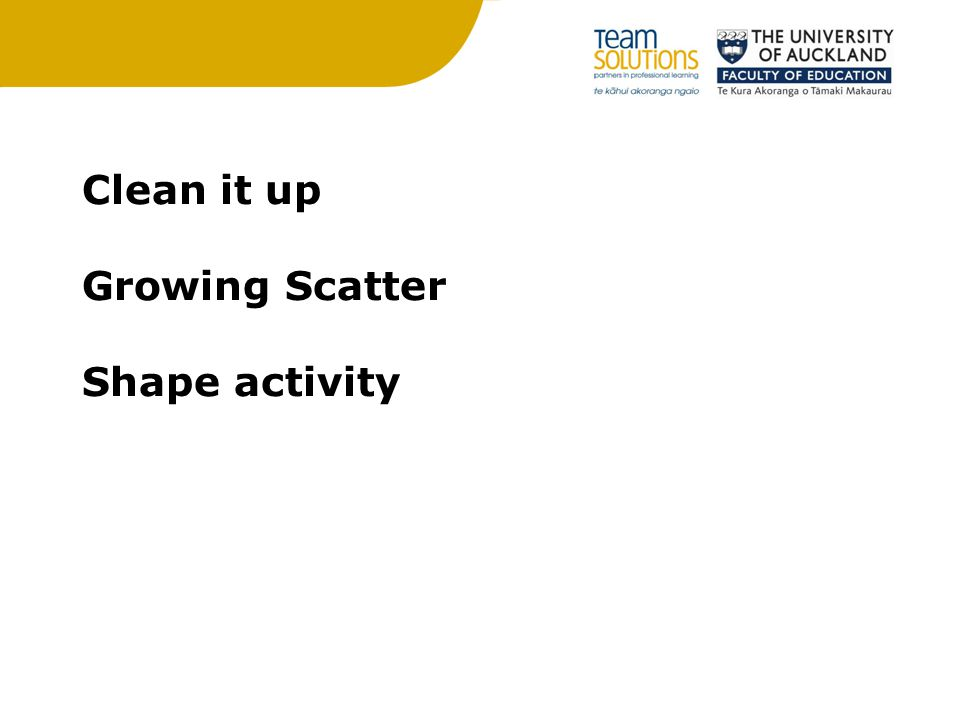 Clean it up Growing Scatter Shape activity