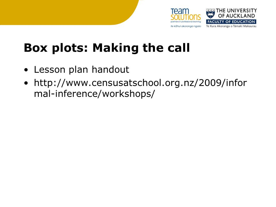Box plots: Making the call Lesson plan handout http://www.censusatschool.org.nz/2009/infor mal-inference/workshops/