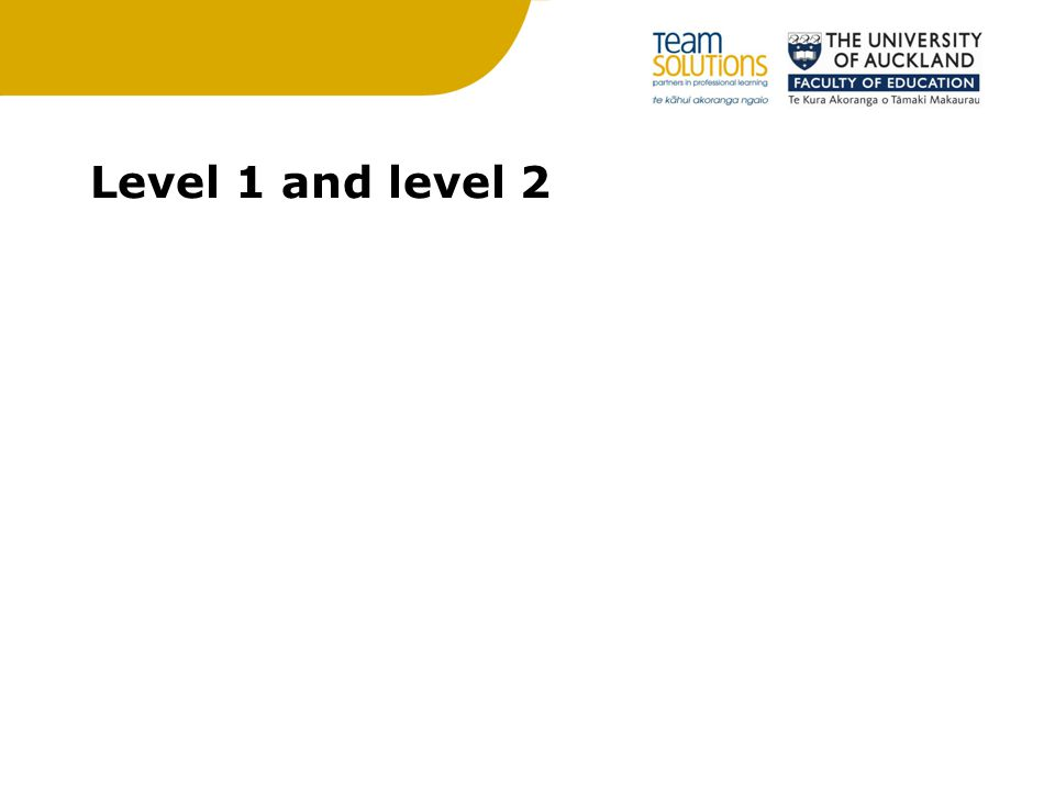 Level 1 and level 2