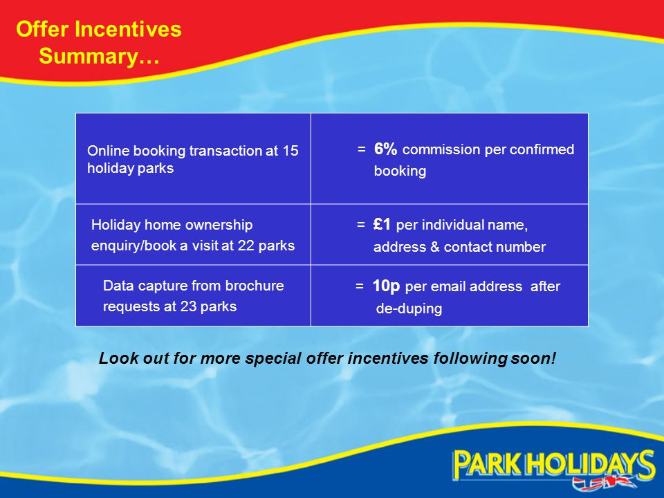 Offer Incentives Summary… Online booking transaction at 15 holiday parks = 6% commission per confirmed booking Holiday home ownership enquiry/book a visit at 22 parks = £1 per individual name, address & contact number Data capture from brochure requests at 23 parks = 10p per email address after de-duping Look out for more special offer incentives following soon!