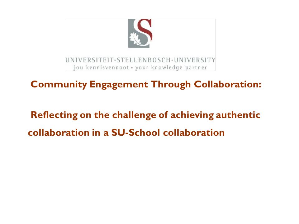 Community Engagement Through Collaboration: Building Sustainable Knowledge Partnerships with the Community Reflecting on the challenge of achieving au