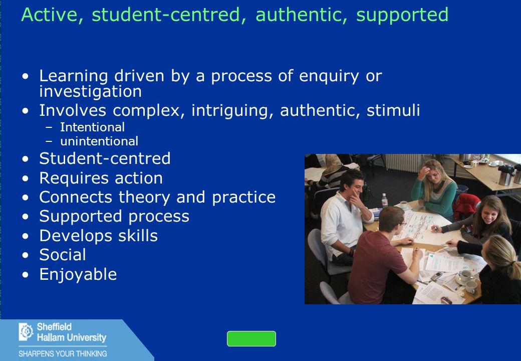 23 Active, student-centred, authentic, supported Learning driven by a process of enquiry or investigation Involves complex, intriguing, authentic, stimuli –Intentional –unintentional Student-centred Requires action Connects theory and practice Supported process Develops skills Social Enjoyable