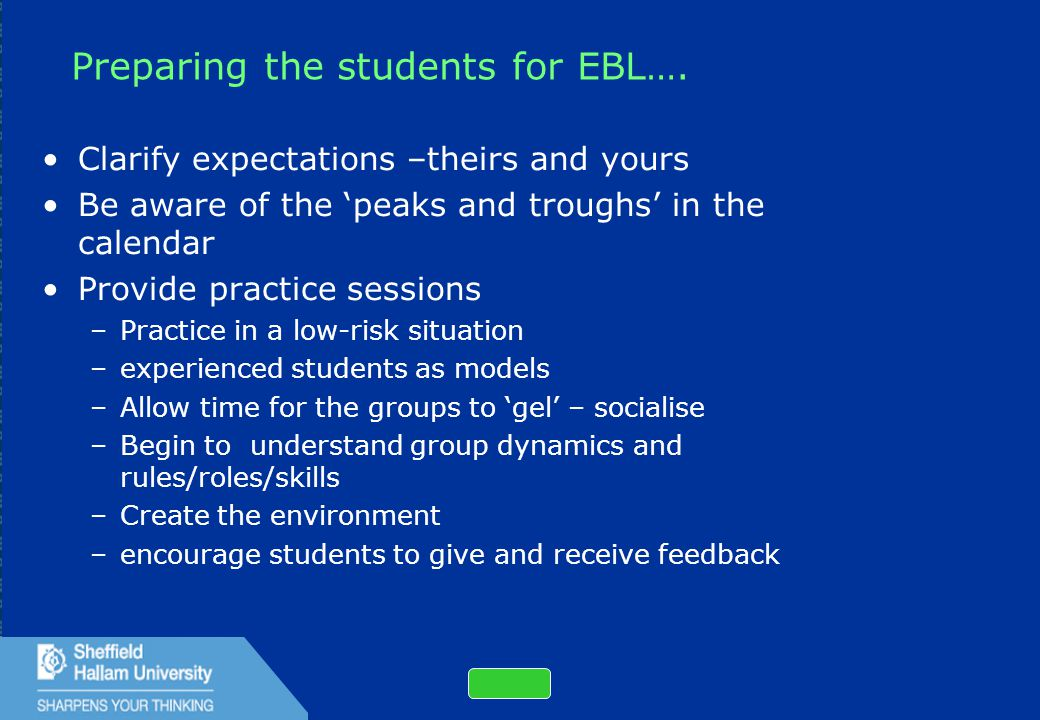 31 Preparing the students for EBL….