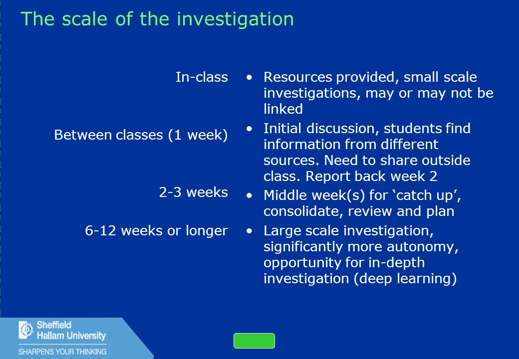 32 The scale of the investigation In-class Between classes (1 week) 2-3 weeks 6-12 weeks or longer Resources provided, small scale investigations, may or may not be linked Initial discussion, students find information from different sources.