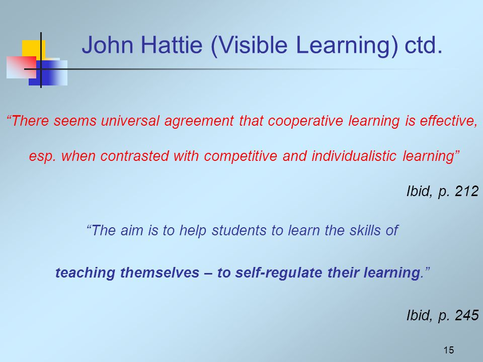 "15 John Hattie (Visible Learning) ctd. ""There seems universal agreement that cooperative learning is effective, esp. when contrasted with competitive"