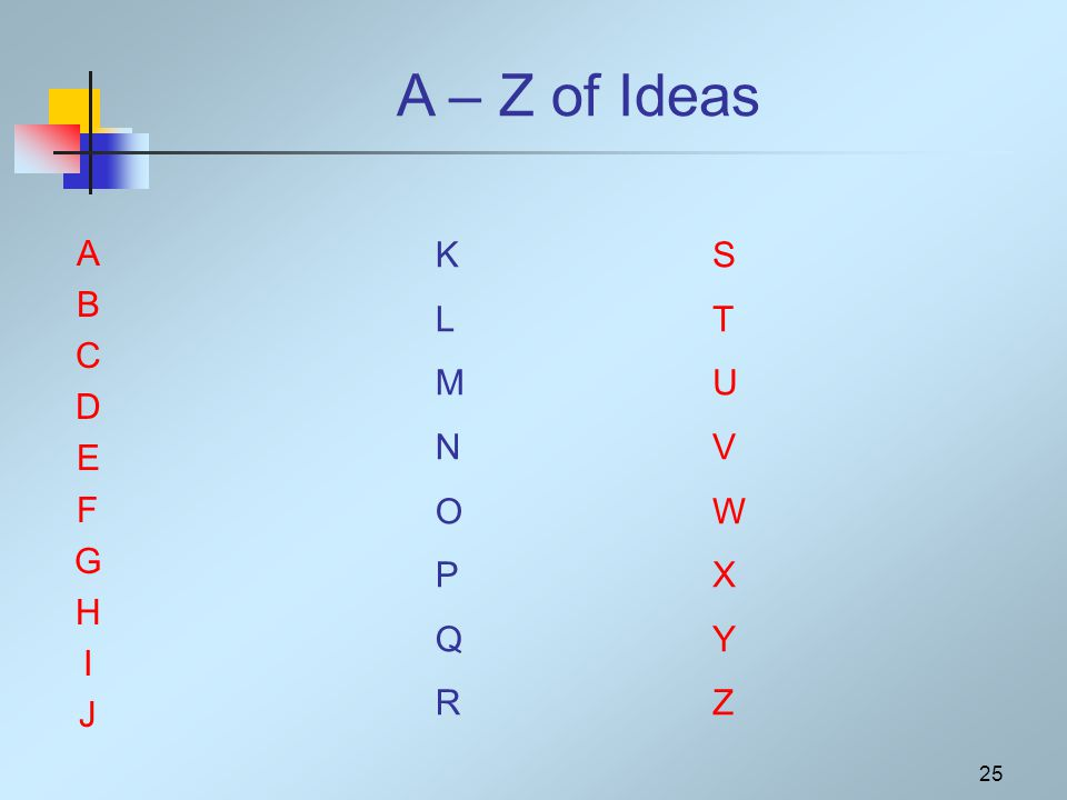 25 A – Z of Ideas ABCDEFGHIJABCDEFGHIJ KLMNOPQRKLMNOPQR STUVWXYZSTUVWXYZ
