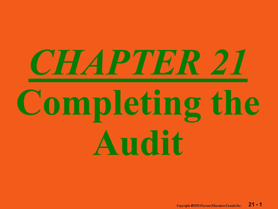 21 - 2 Copyright  2003 Pearson Education Canada Inc.
