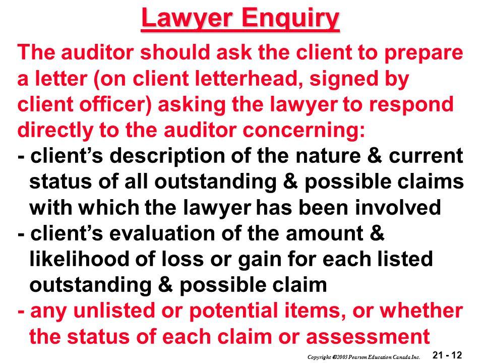21 - 12 Copyright  2003 Pearson Education Canada Inc.