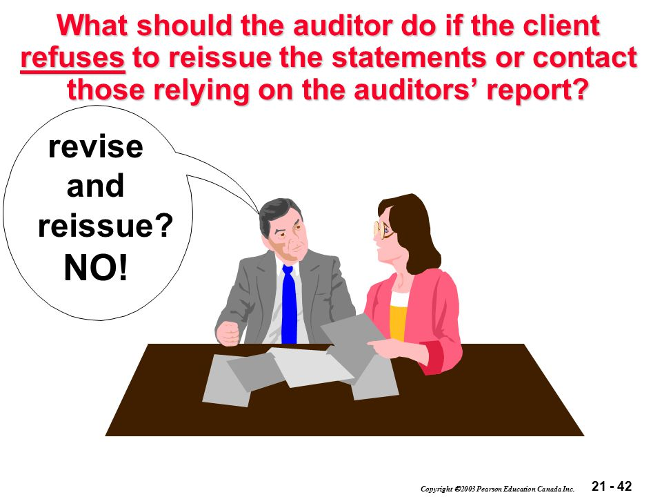 21 - 42 Copyright  2003 Pearson Education Canada Inc. What should the auditor do if the client refuses to reissue the statements or contact those rel