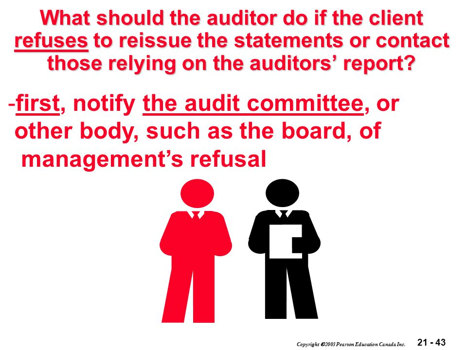 21 - 43 Copyright  2003 Pearson Education Canada Inc. What should the auditor do if the client refuses to reissue the statements or contact those rel
