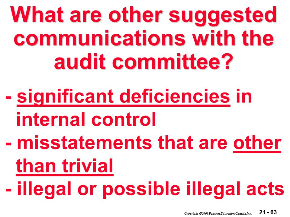 21 - 63 Copyright  2003 Pearson Education Canada Inc. What are other suggested communications with the audit committee? - significant deficiencies in