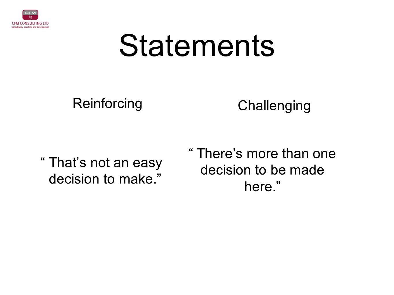 """Statements """" That's not an easy decision to make."""" """" There's more than one decision to be made here."""" Reinforcing Challenging"""