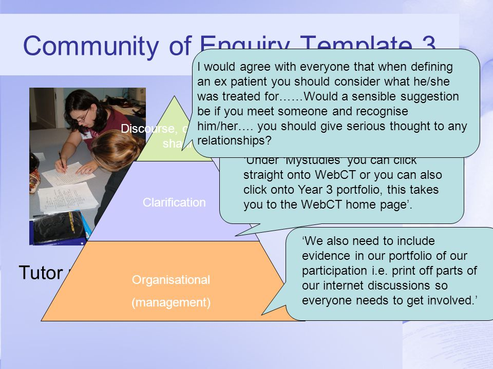 Community of Enquiry Template 3 Tutor presence Organisational (management) Clarification Discourse, consensus, sharing 'We also need to include evidence in our portfolio of our participation i.e.