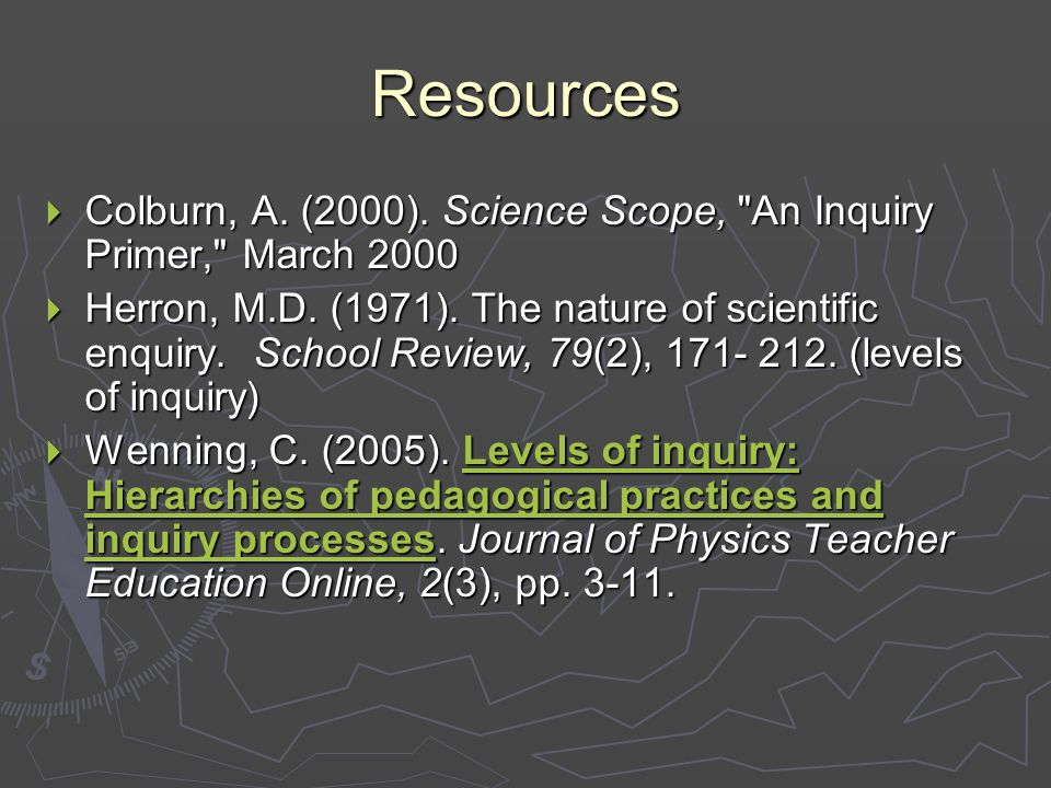 Resources  Colburn, A. (2000). Science Scope, An Inquiry Primer, March 2000  Herron, M.D.