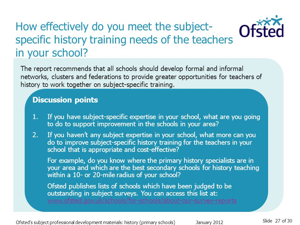 Slide 27 of 30 Ofsted's subject professional development materials: history (primary schools) January 2012 How effectively do you meet the subject- specific history training needs of the teachers in your school.