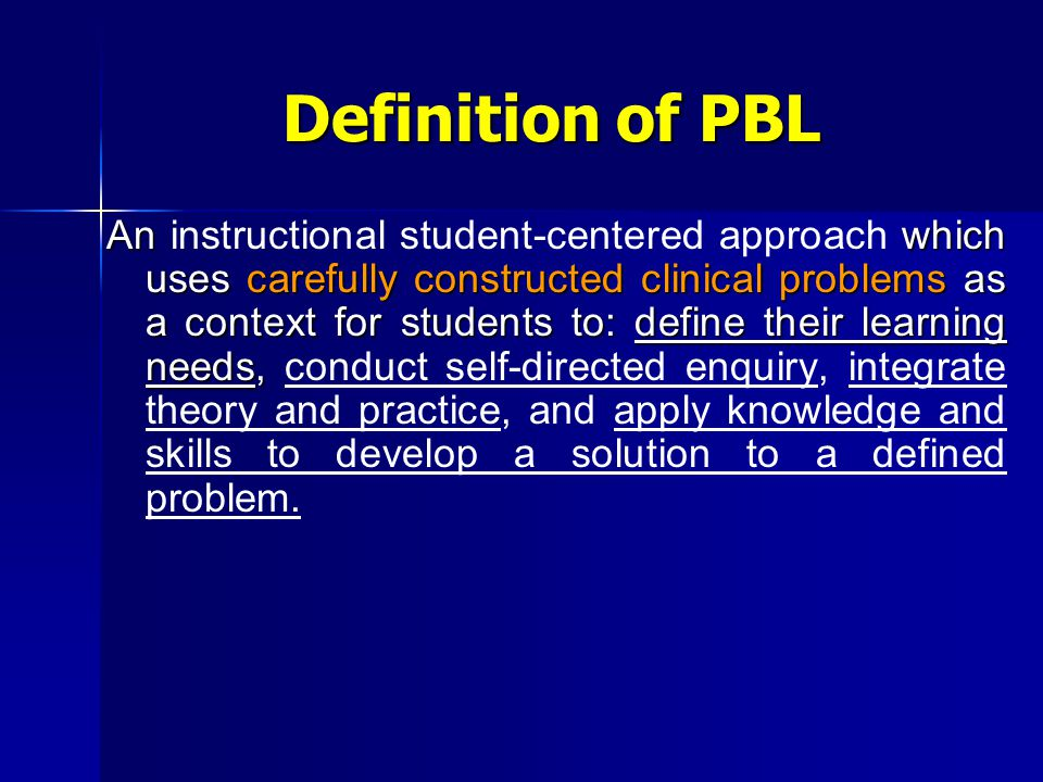 The place of PBL in the curriculum